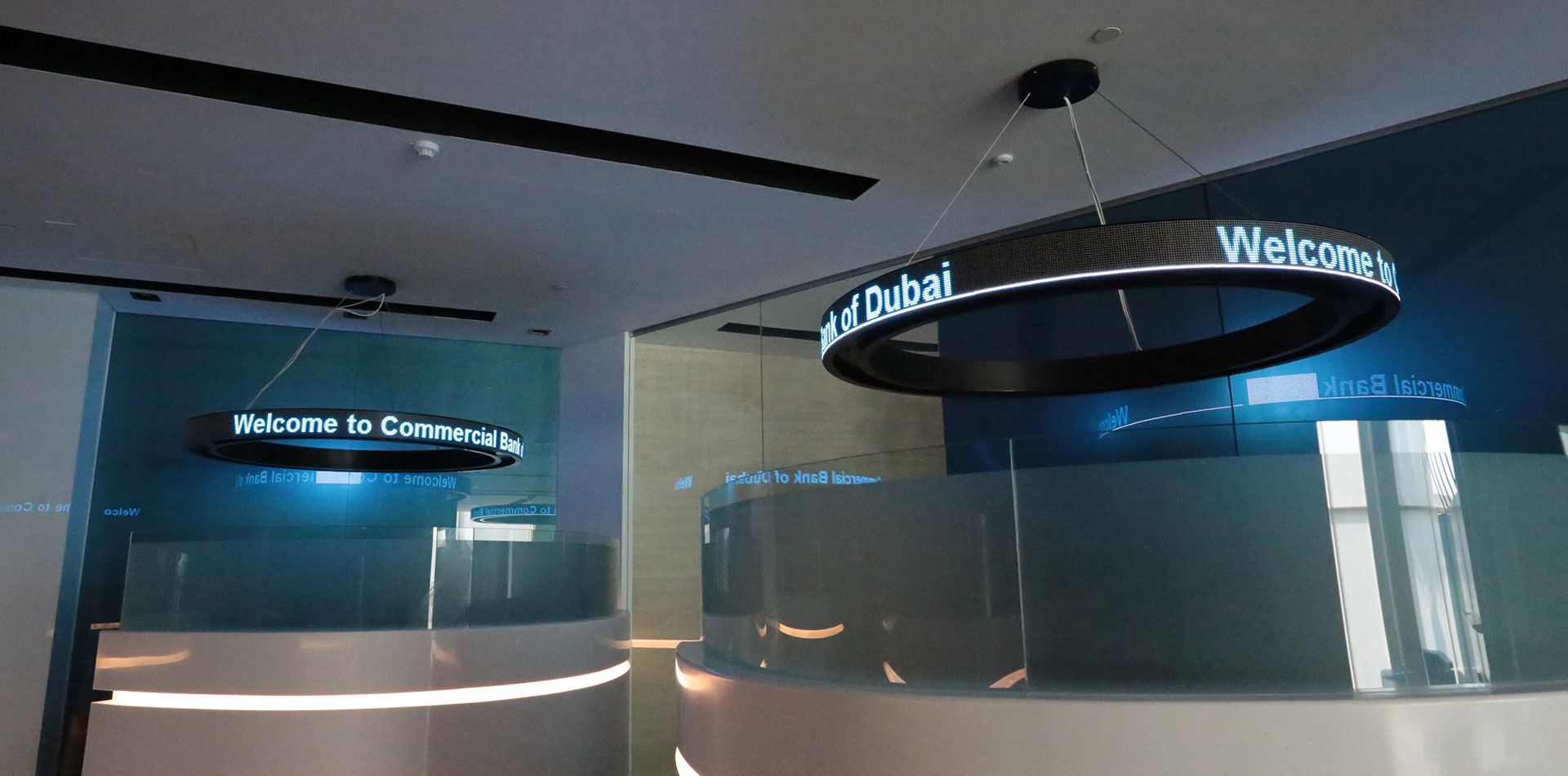 LED ticker at front Desk of CBD