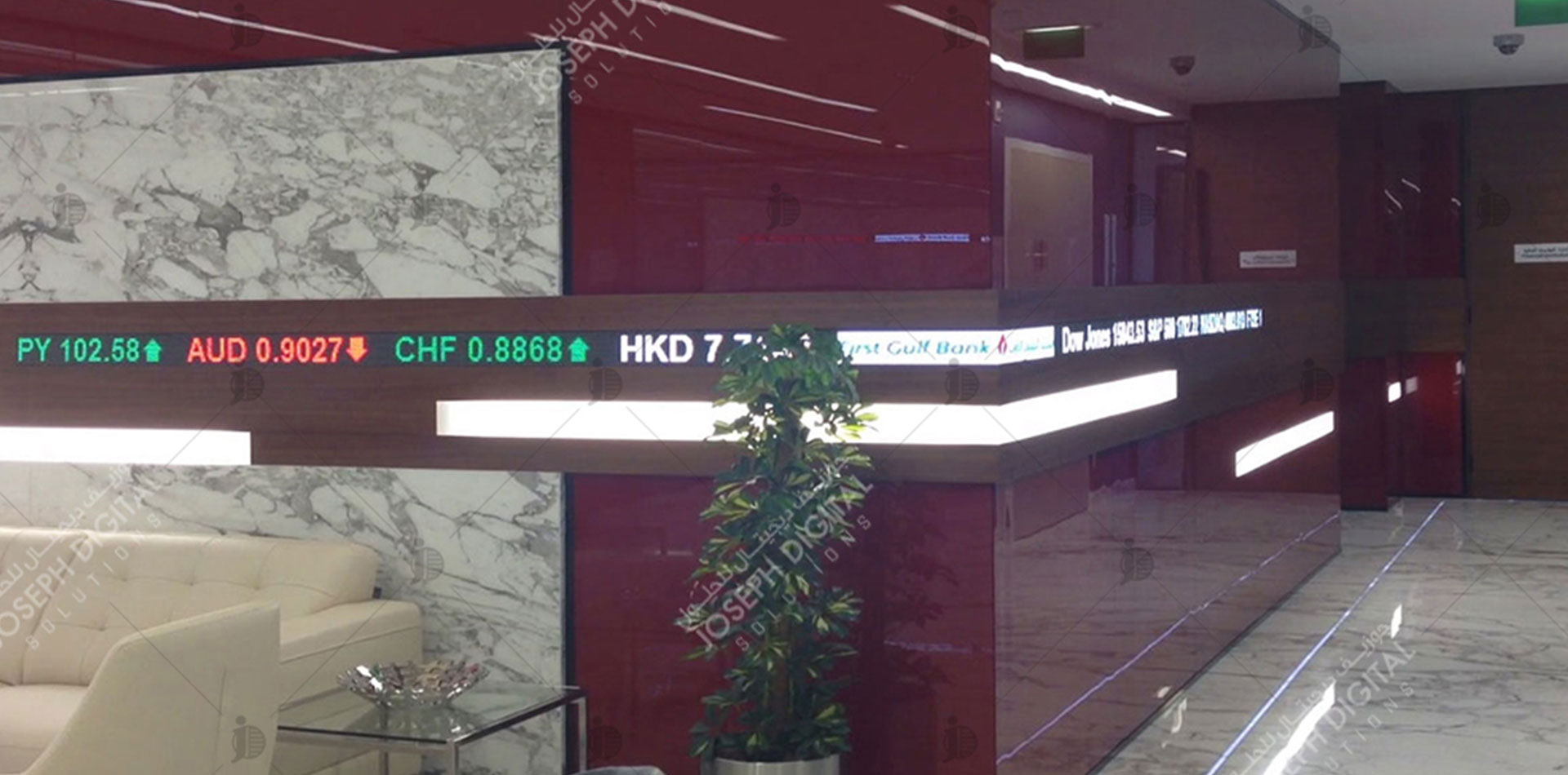 LED ticker Signage of First Gulf Bank