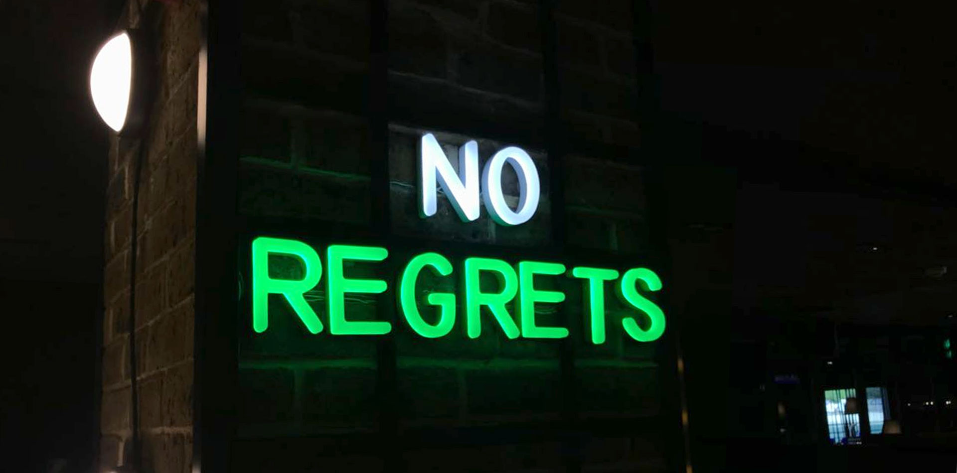 No Regrets Neon Signage