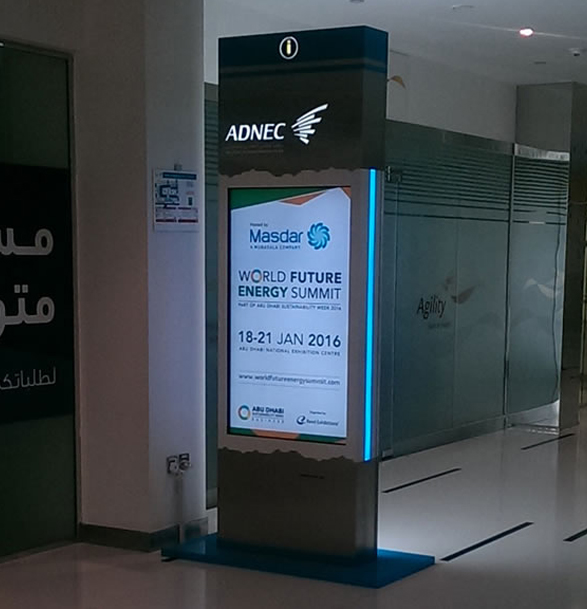 Digital Kiosk displaying information about World Future Energy Summit