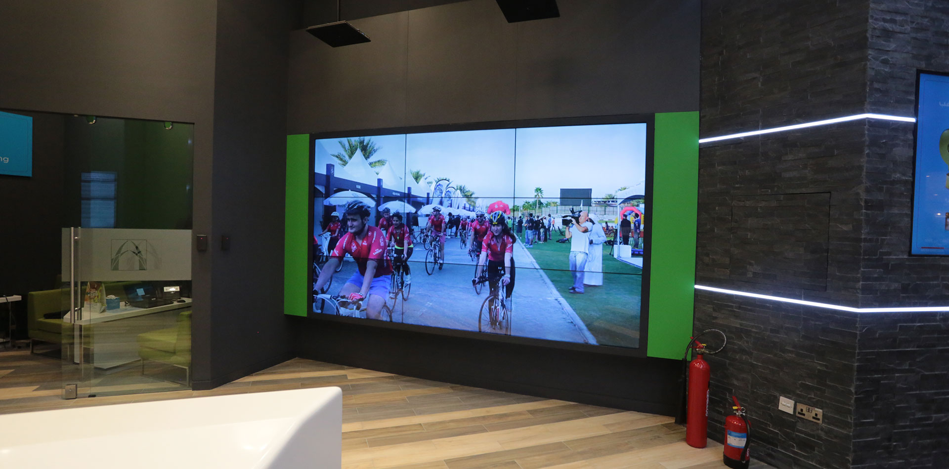 LED Display playing Cycling video